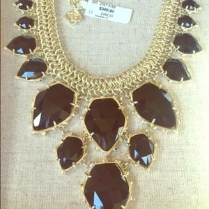 Kendra Scott black and Gold chandelier necklace